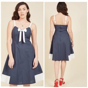 ModCloth Yours To Adore Navy Bow Retro Dress